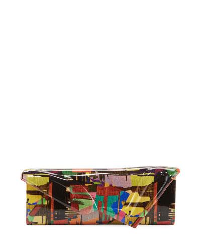 So Kate Multicolored Mosaic Patent Clutch Baguette Bag