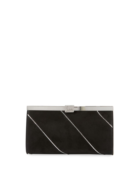 Image 1 of 4: Christian Louboutin Palmette Small Suede Clutch Bag