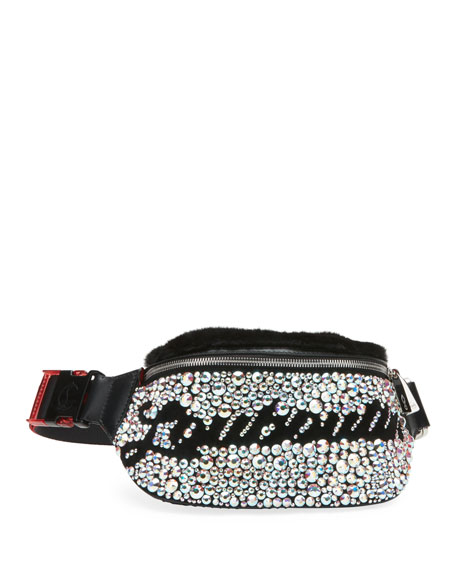 Christian Louboutin Marie Jane Maxi Crystal-Studded Suede & Faux-Fur Belt Bag