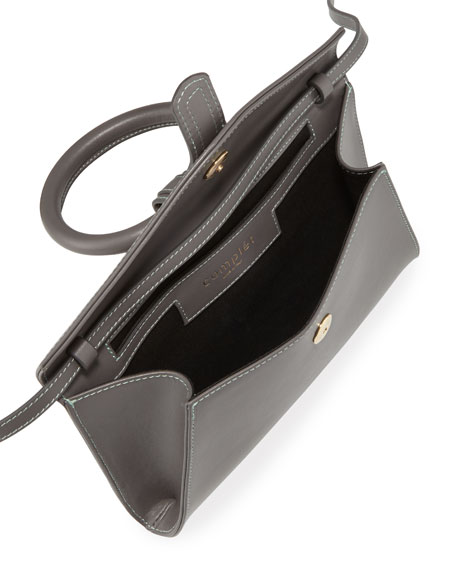 Complet Valery Mini Leather Satchel Bag, Gray