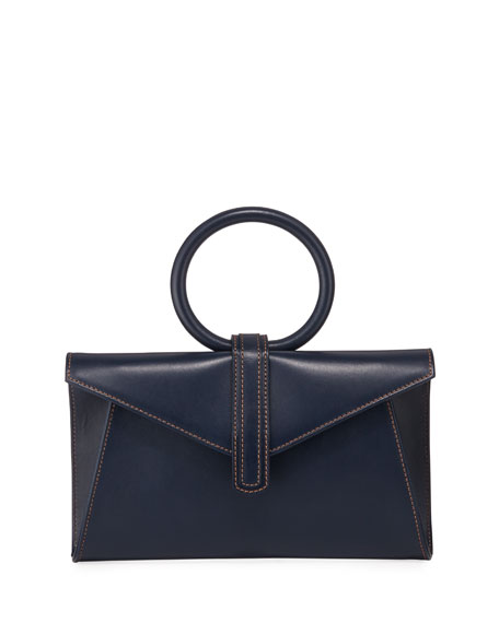 Complet Valery Mini Leather Satchel Bag, Navy