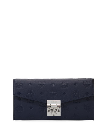 MCM Patricia Monogrammed Leather Wallet on Chain