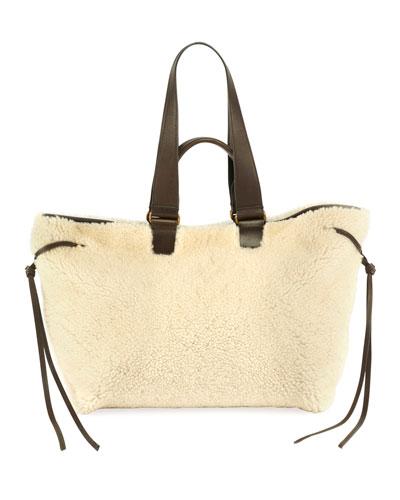 Wardym Large Shearling Shoulder Bag
