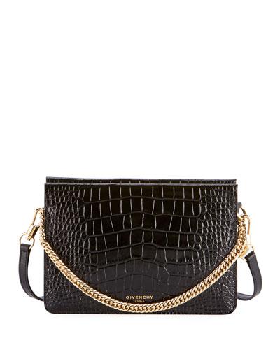 Crocodile-Embossed Crossbody Bag