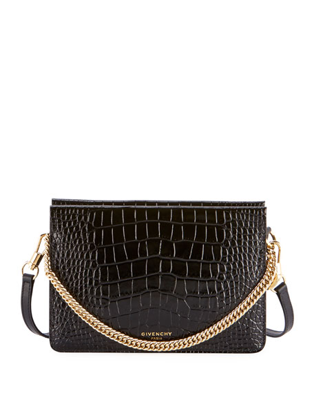 Givenchy Crocodile-Embossed Crossbody Bag