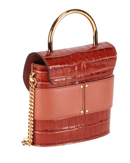 Chloe Aby Lock Croco-Embossed Shoulder Bag with Metal Top Handle
