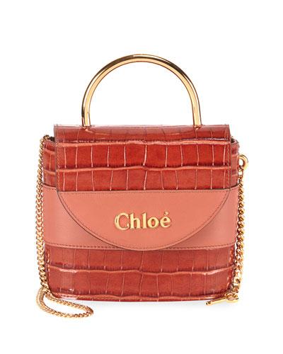 Aby Lock Croco-Embossed Shoulder Bag with Metal Top Handle
