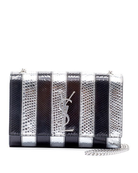 Saint Laurent New Kate Small YSL Monogram Striped Python Crossbody Bag