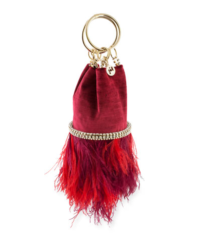 Ghizlan Velvet Feather Minaudiere Bag
