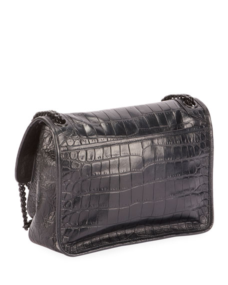 Saint Laurent Niki Medium YSL Monogram Crocodile-Embossed Chain Shoulder Bag