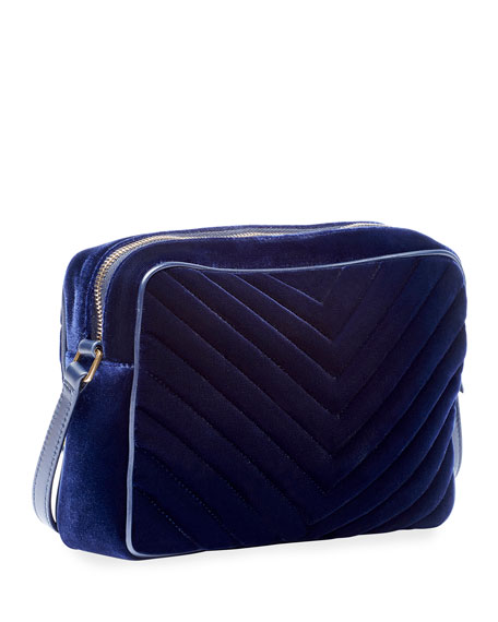 Saint Laurent Lou Medium YSL Monogram Quilted Velvet Crossbody Bag