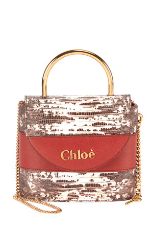 Chloe Aby Lock Lizard-Embossed Shoulder Bag with Metal Top Handle