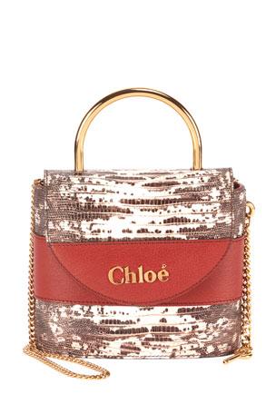 Chloe Aby Lock Lizard-Embossed Shoulder Bag with Metal Top Handle