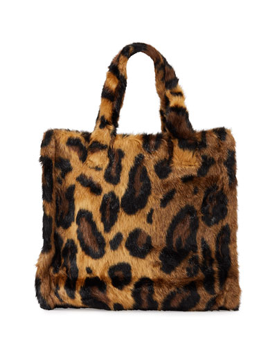 Lolita Leopard Faux-Fur Medium Tote Bag