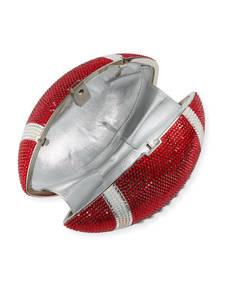 Judith Leiber Couture Game Ball Football Crystal Clutch Bag, Red/White