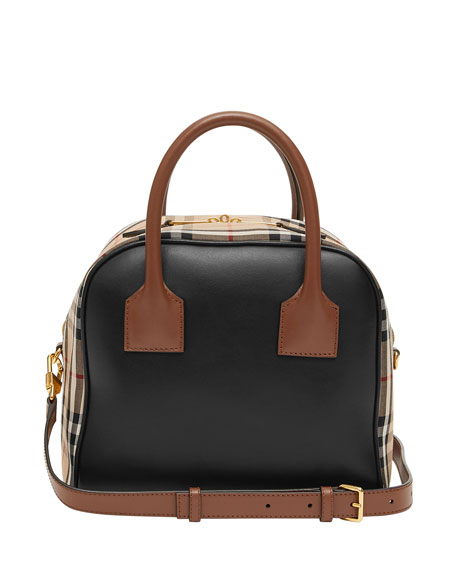 Image 3 of 5: Burberry Vintage Check and Leather Top Handle Bag