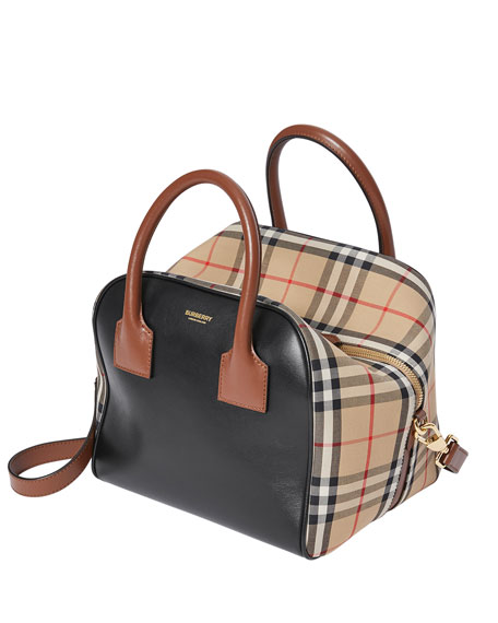 Image 4 of 5: Burberry Vintage Check and Leather Top Handle Bag