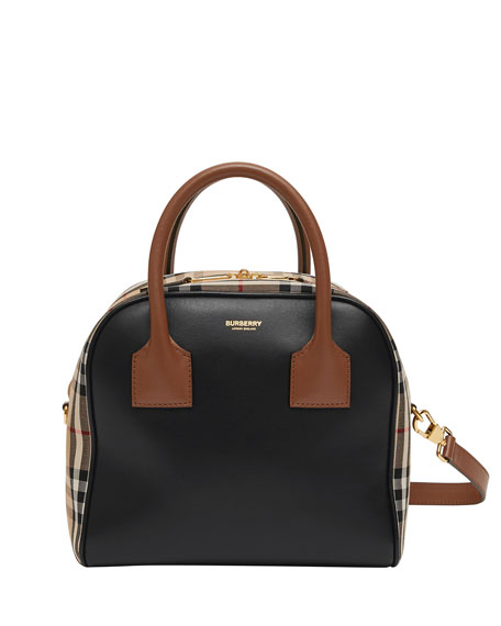 Image 1 of 5: Burberry Vintage Check and Leather Top Handle Bag