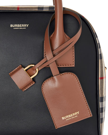 Image 5 of 5: Burberry Vintage Check and Leather Top Handle Bag