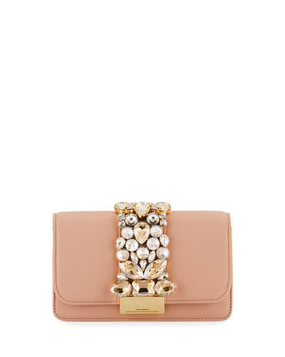Cliky Mini Jeweled Napa Clutch Bag