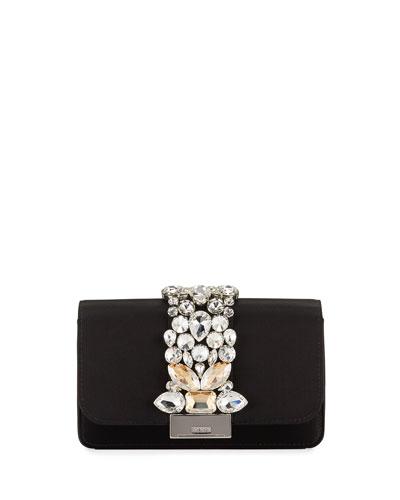 Cliky Mini Jeweled Satin Clutch Bag
