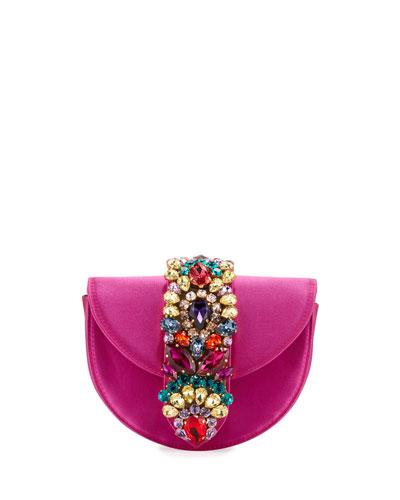 Brigitte Mini Jeweled Satin Top-Handle Bag