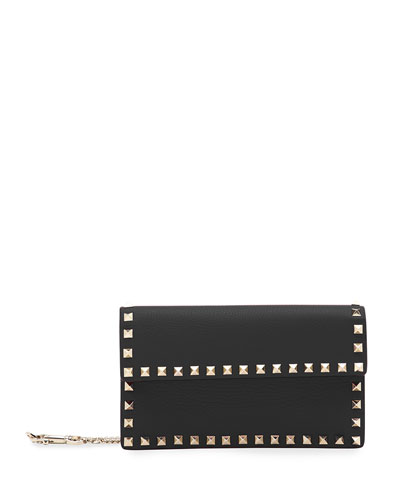 Rockstud Leather Continental Wallet on Chain