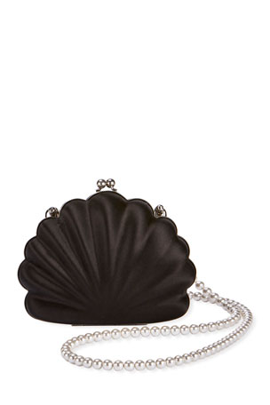 Balenciaga Beads Shell Satin Clutch Bag