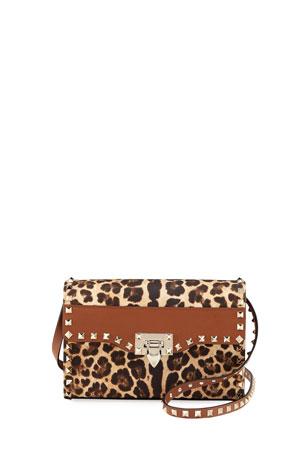 Valentino Garavani Rockstud Small Leopard-Print Shoulder Bag