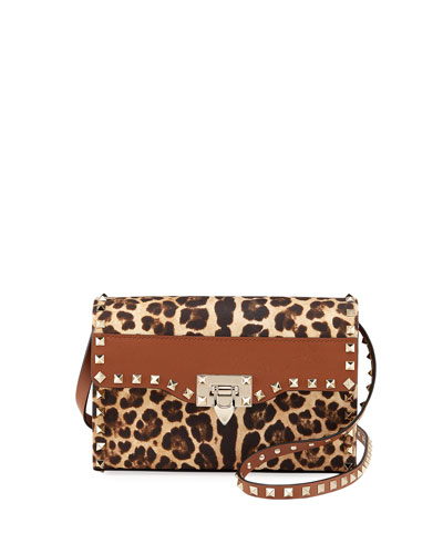 Rockstud Small Leopard-Print Shoulder Bag