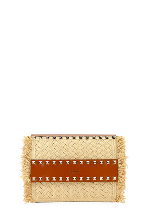 Valentino Garavani Rockstud Small Raffia Shoulder Bag