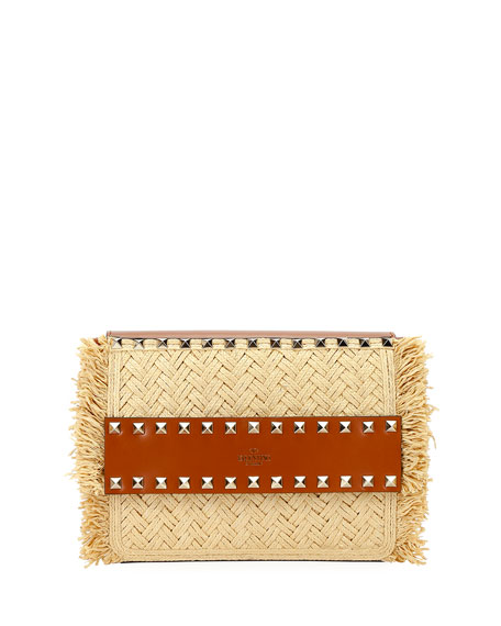 Valentino Garavani Rockstud Small Raffia Shoulder Bag