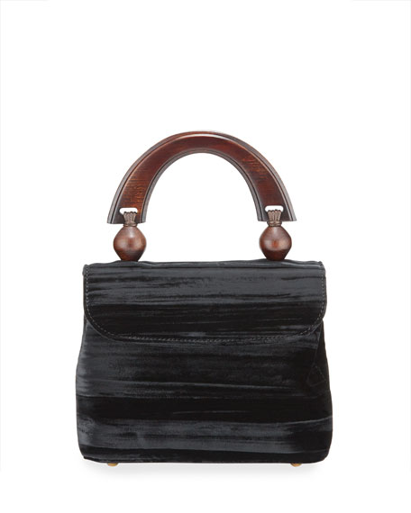 BY FAR Mini Fiona Crushed Top Handle Bag, Black