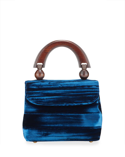 Mini Fiona Crushed Top Handle Bag  Dark Blue