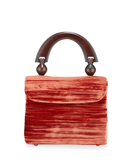 BY FAR Mini Fiona Crushed Top Handle Bag, Red