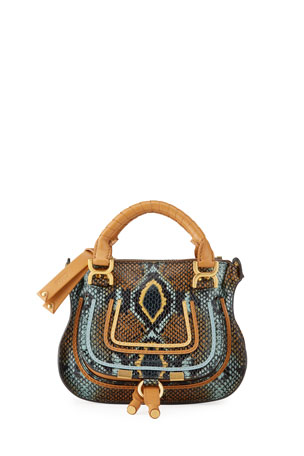 Chloe Marcie Mini Python-Embossed Double-Carry Satchel Bag