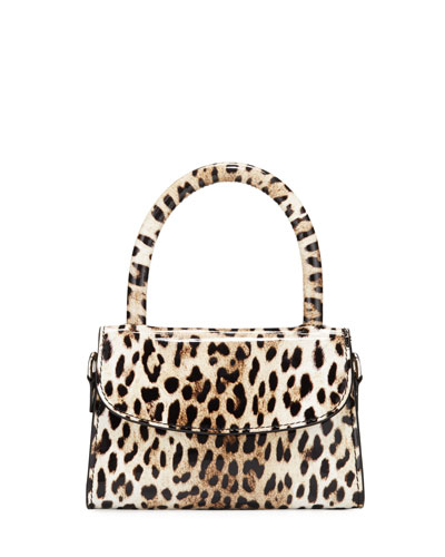Mini Leopard-Print Leather Top-Handle Bag