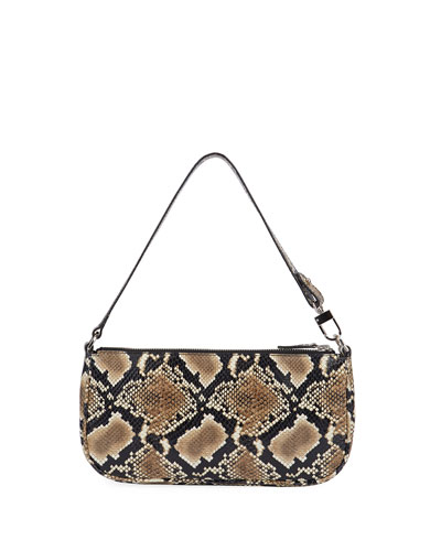 Rachel Snake-Print Leather Shoulder Bag