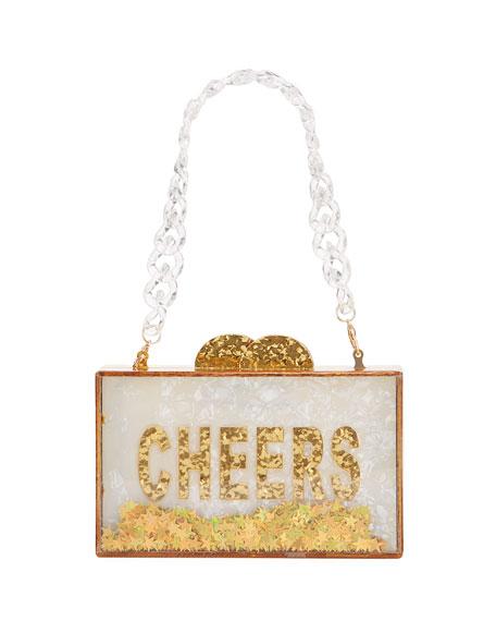 Bari Lynn Girl's Cheers Acrylic Box Clutch Bag