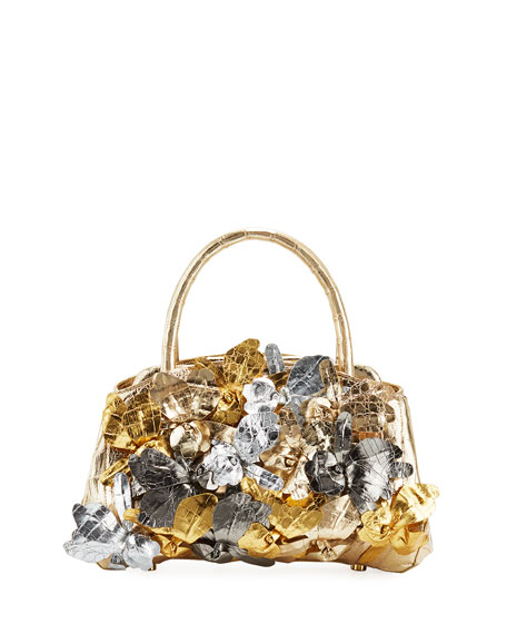Nancy Gonzalez 3D Floral Frame Top-Handle Bag