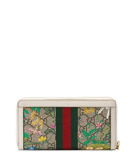 Gucci Ophidia GG Flora Zip-Around Wallet