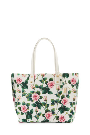 Dolce & Gabbana Tropical Rose Canvas Tote Bag