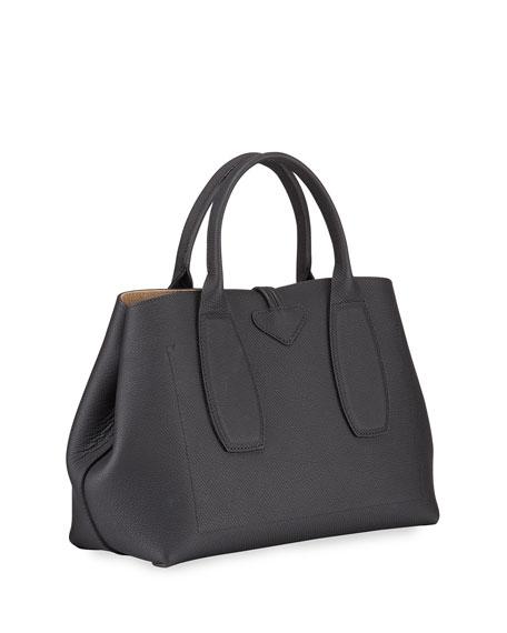 Roseau Medium Leather Top-Handle Tote Bag with Shoulder Strap