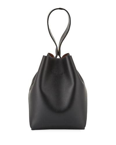 Two-Tone Cross-Handle Bucket Bag