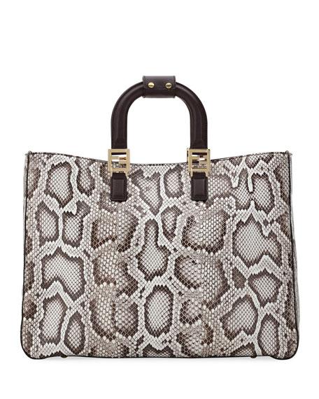 Fendi Saku Python Shopper Tote Bag