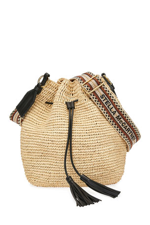 Stella McCartney Mini Crochet Bucket Bag with Faux-Leather Tassels