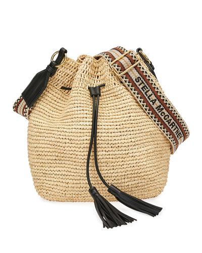 Mini Crochet Bucket Bag with Faux-Leather Tassels