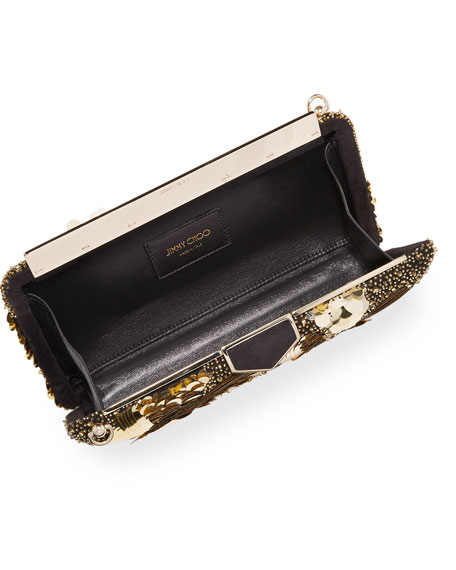 Image 2 of 4: Jimmy Choo Ellipse Floral Sequin Clutch Bag