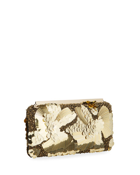 Image 3 of 4: Jimmy Choo Ellipse Floral Sequin Clutch Bag