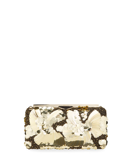 Image 1 of 4: Jimmy Choo Ellipse Floral Sequin Clutch Bag
